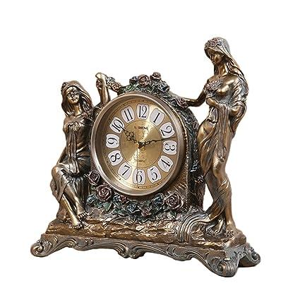 SESO UK- Reloj de Cuarzo Retro Europeo Resina Relojes de pie de estantería de la