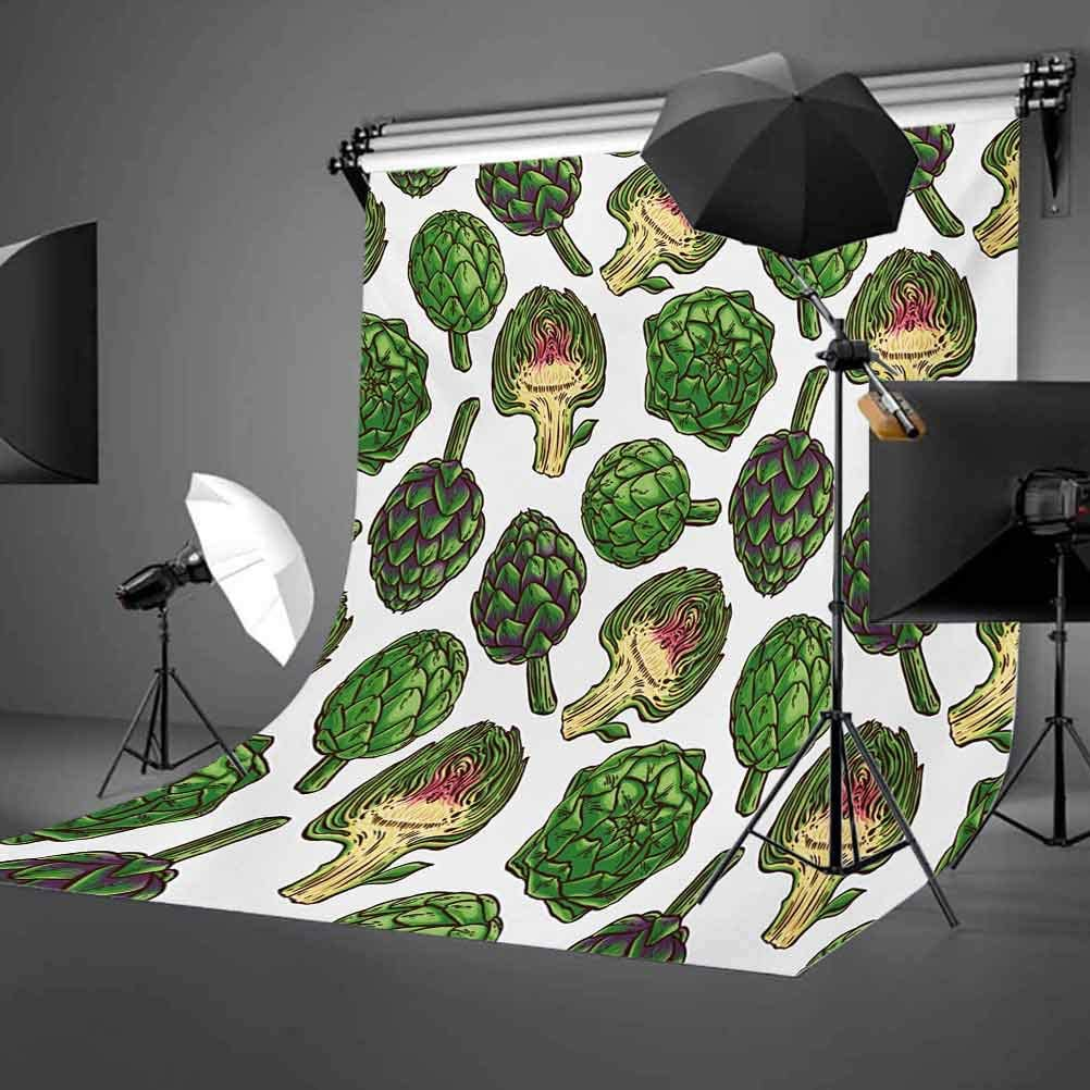 Artichoke 6x8 FT Photo Backdrops,Hand Drawn Healthy Foods in Various Forms Organic Natural Gourmet Artwork Print Background for Baby Shower Birthday Wedding Bridal Shower Party Decoration Photo Studio