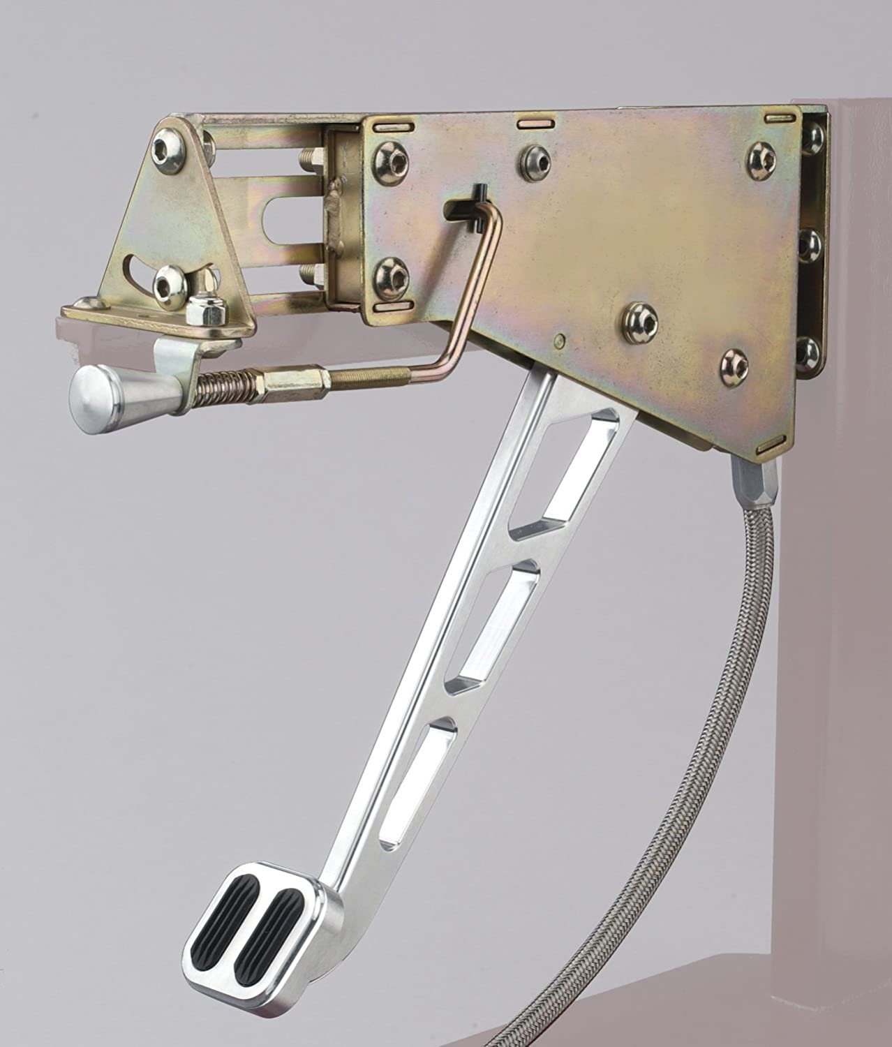 Lokar EFB-9002 Billet Aluminum Under-The-Dash Foot Operated Emergency Brake with Windowed Arm and Rubber