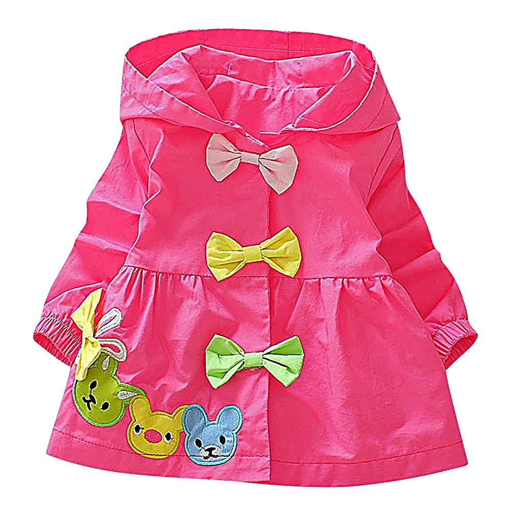 Sweety Baby Girls Animal /& Bow Tie Appliques Button Up Hooded A Line Jacket