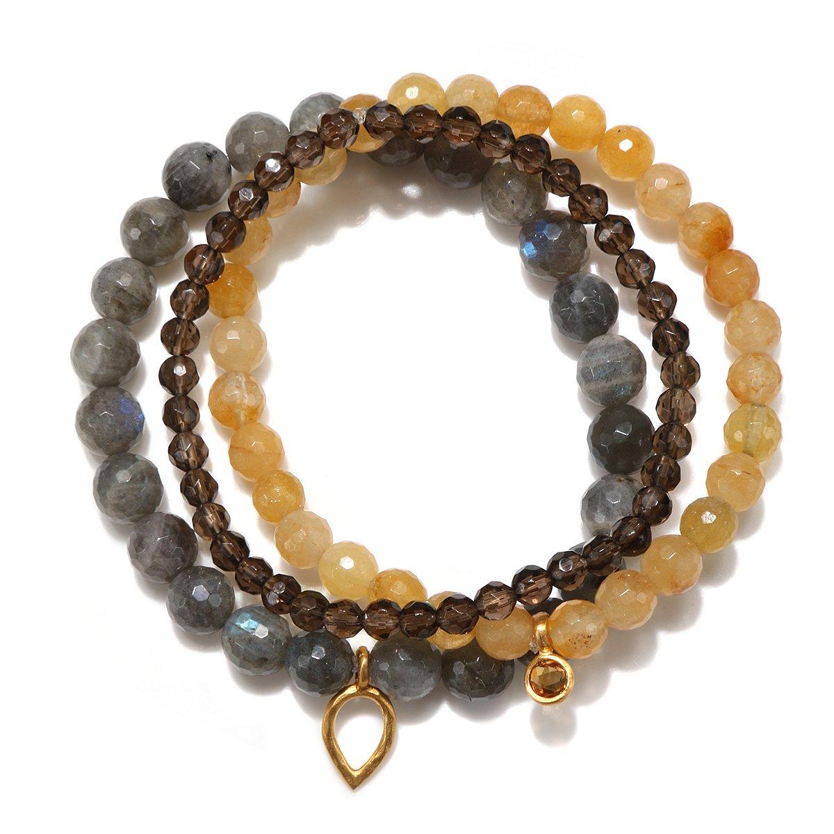 Satya Jewelry Labradorite, Yellow Jade, Smokey Quartz, Citrine Gold Plate Lotus Petal Stretch Bracelet
