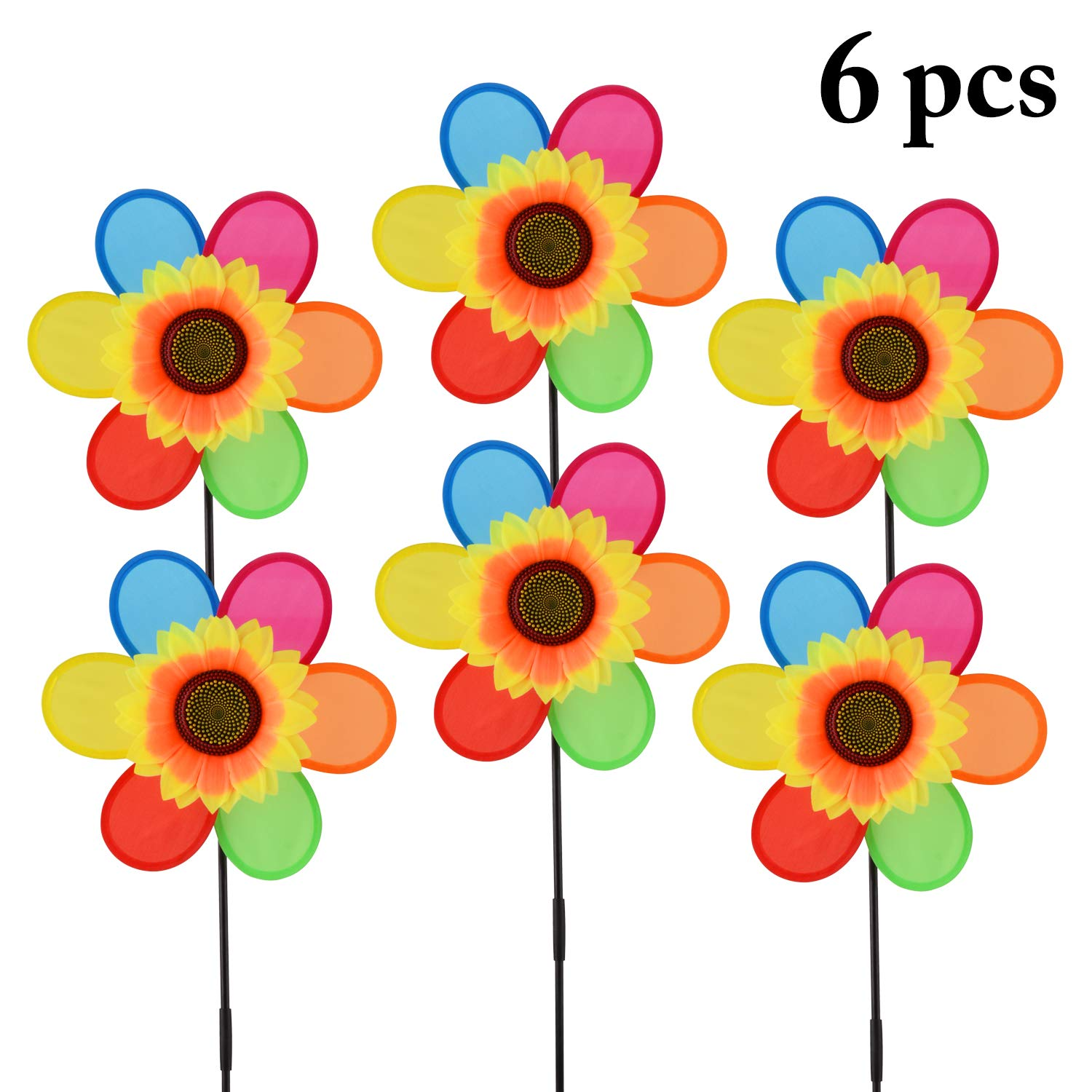 B bangcool Wind Spinners Sunflower Lawn Pinwheels Wind Spinner Windmills Wedding Party Pinwheel for Patio Lawn & Garden (6 Pcs) by B bangcool