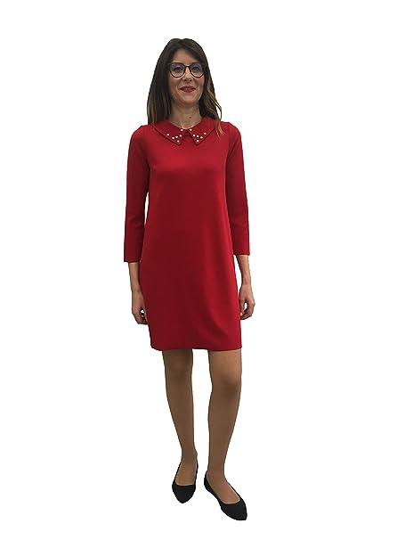 buy online 34e2e d4dad Vestito Donna Rosso Collo Classico con Perline Made in Italy ...