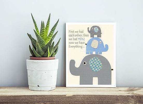 Boy room nursery wall art decor First we had baby elephant blue gray