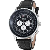 GuTe Classic Mens Pro Automatic Mechanical Wristwatch Black Dial Day&Date Luminous Hands