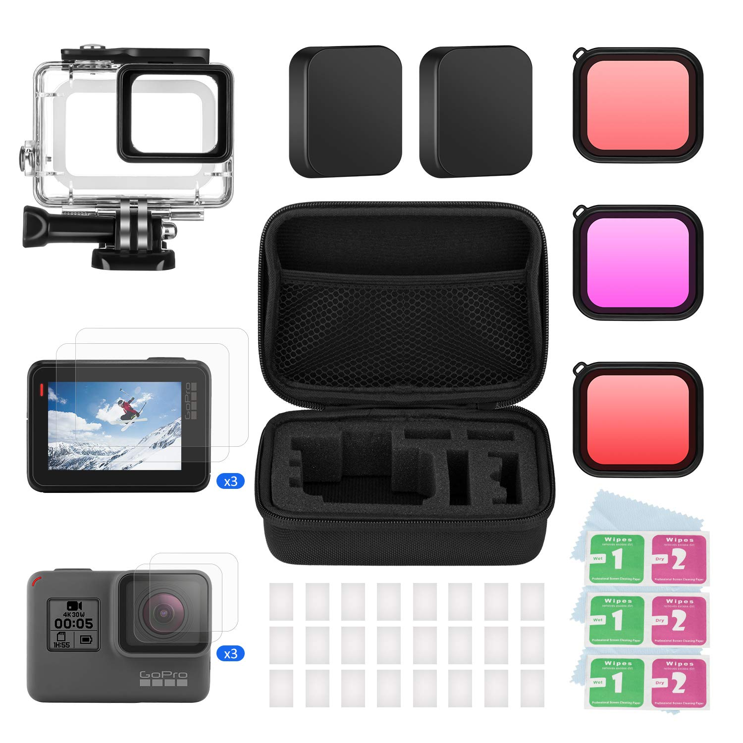 BOYISEN Accessory Kit for Gopro Hero 7(Only Black)/HD(2018)/6/5 with Housing Case and Filter Kit Including Waterproof housing case, Filter, Screen Protector, Lens Cap, Anti-Fog Inserts, Carrying Case