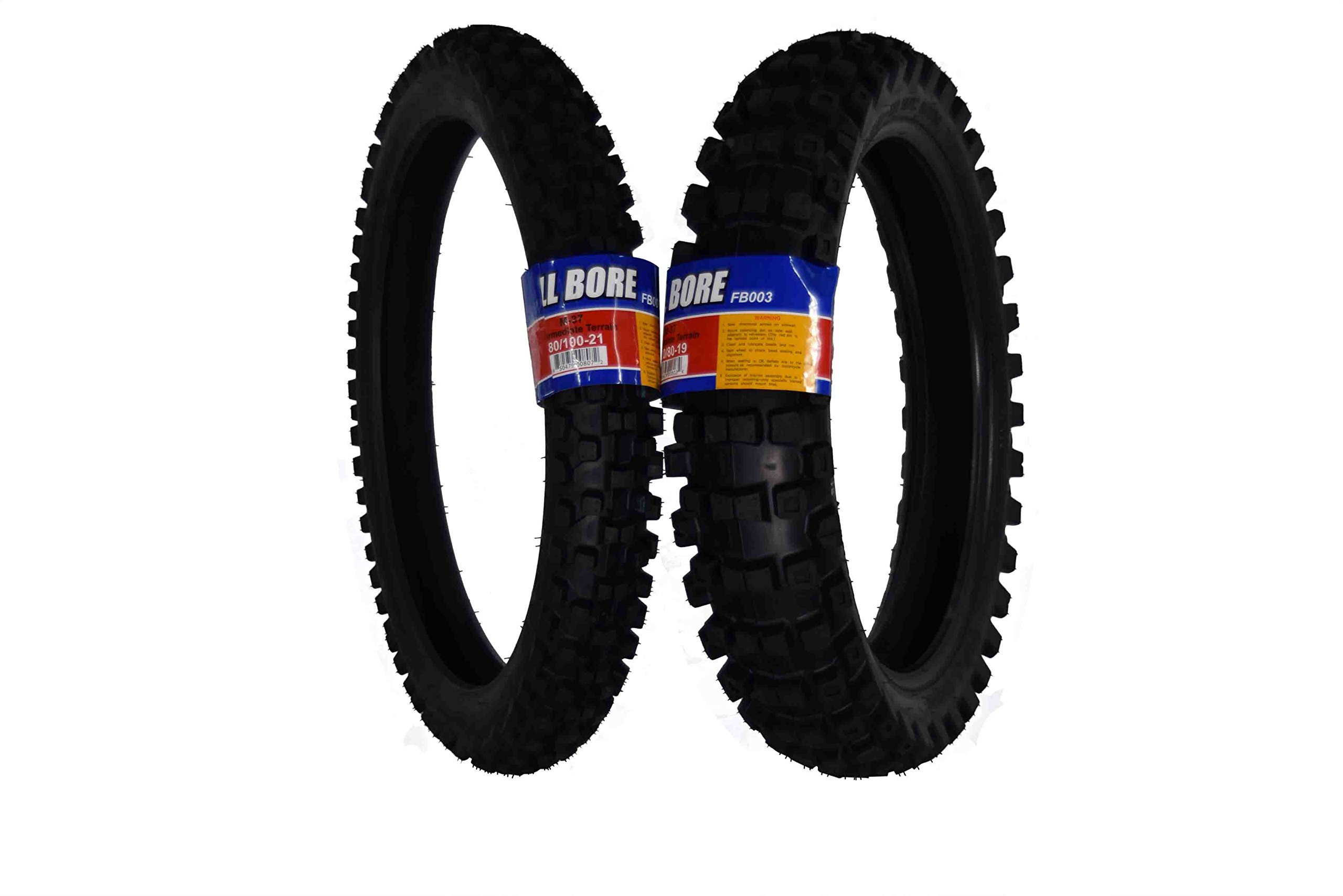 Full Bore 80/100-21 F 120/80-19 R M37 Intermediate Terrain Dirt Bike Tire Set