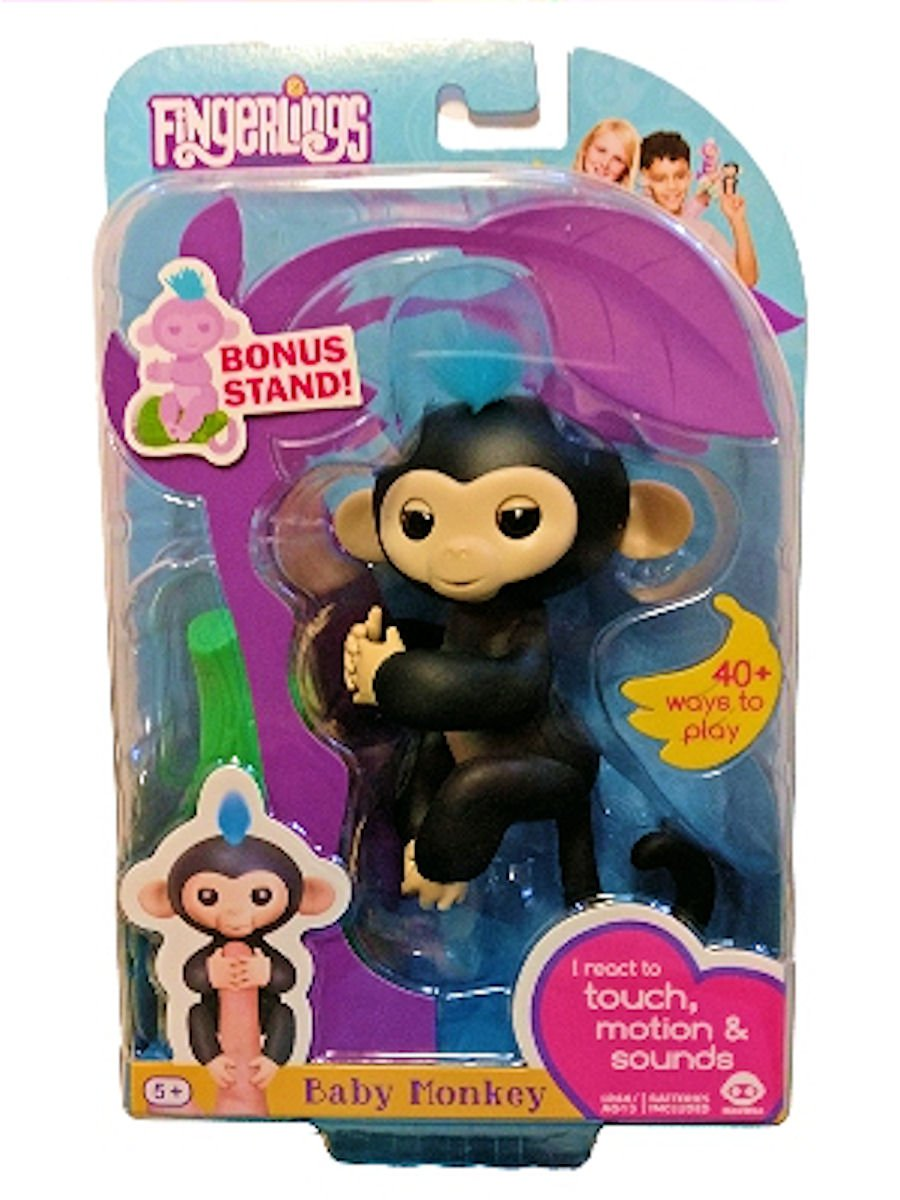 Fingerlings Baby Monkey - Finn - Black (Includes Bonus Stand) WowWee