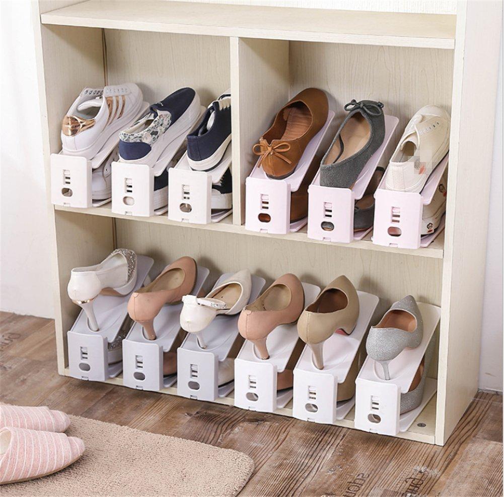 2018 Neue Einstellbare Doppel Schuhregal Staubdicht Schuh Rack Hause Schuh Lagerregal Farbe Mischen (10 Paar Schuhe) kUY8Cm