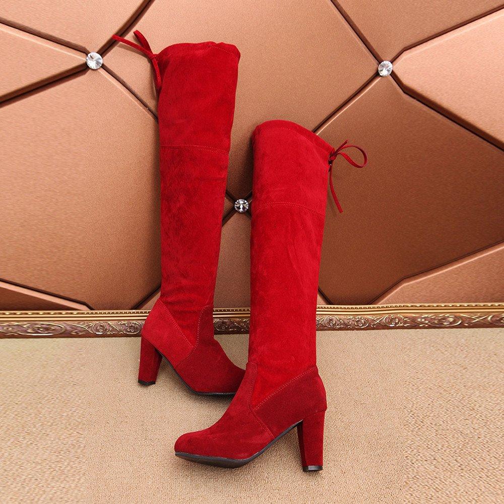 ❤️Mujeres de Tubo Alto, Stretch Faux Slim Botas Altas Sobre la Rodilla Botas Zapatos de Tacones Altos otoño Invierno Absolute: Amazon.es: Ropa y ...