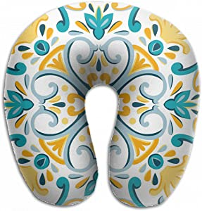 Emvency U-Shaped Travel Neck Support Pillow Oriental Traditional Mediterranean Yellow Pattern Airplane 12x11.5 Inch Soft U-Pillows with Rebound Material for Kids Adults