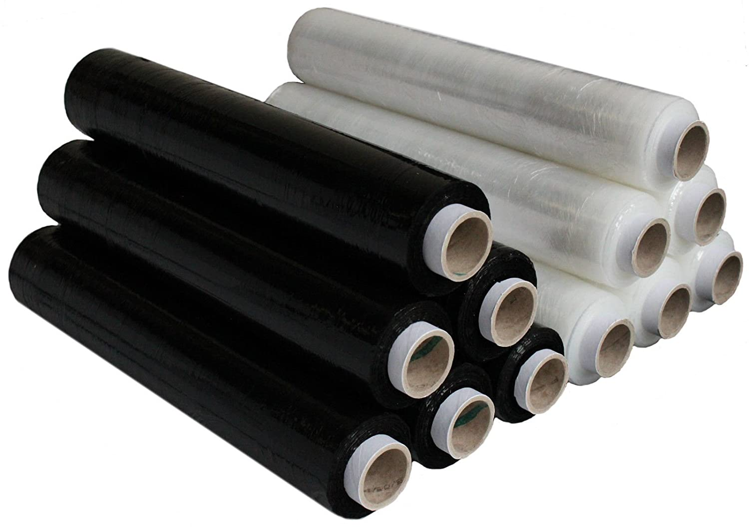 Pack of 6 Black Triplast 400 mm x 250 m Extended Core Pallet Stretch Shrink Wrap