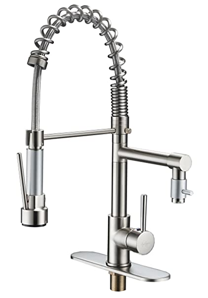 BWE Brushed Nickel Kitchen Sink Faucet Pull Out Down Sprayer Mixer ...