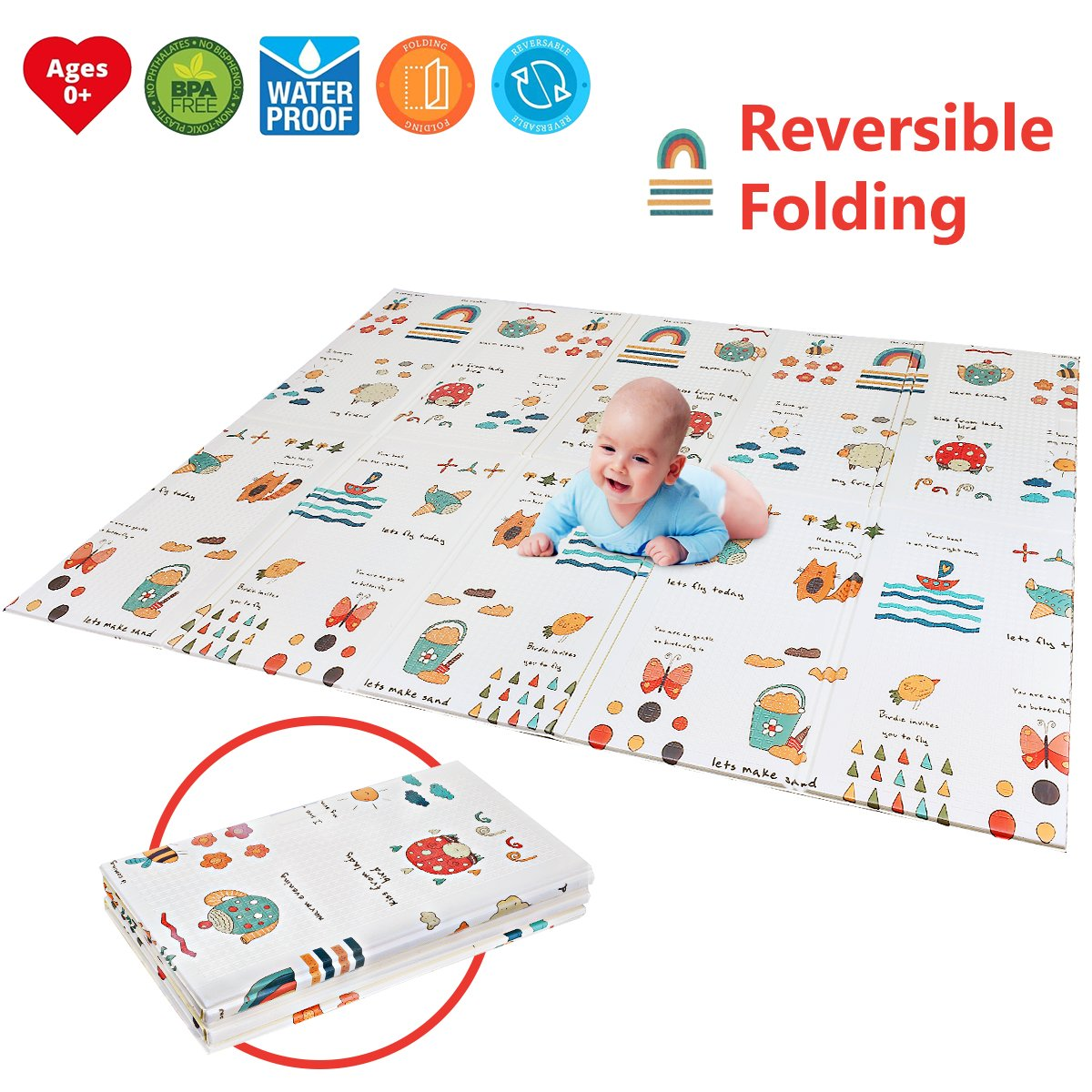 "Folding Kids Play Mat | Portable Baby Play Mat | BPA FREE Non Toxic 78.7"" x 59'' 0.4 Extra Large Reversible Foam Crawling Mat Toddlers Waterproof Non-Slip Picnic Outdoor Playroom"