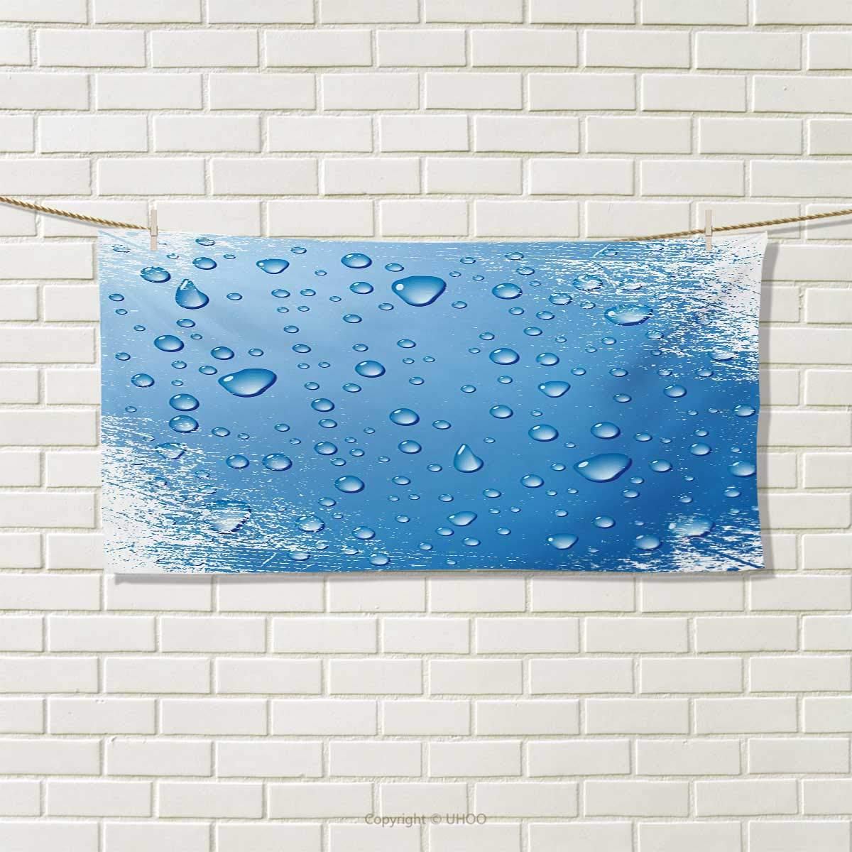 Chaneyhouse Grunge,Travel Towel,Realistic Water Drops Bubbles on Worn Scratched Looking Backdrop Freshness Purity,Quick-Dry Towels,Blue White Size: W 14'' x L 27.5''