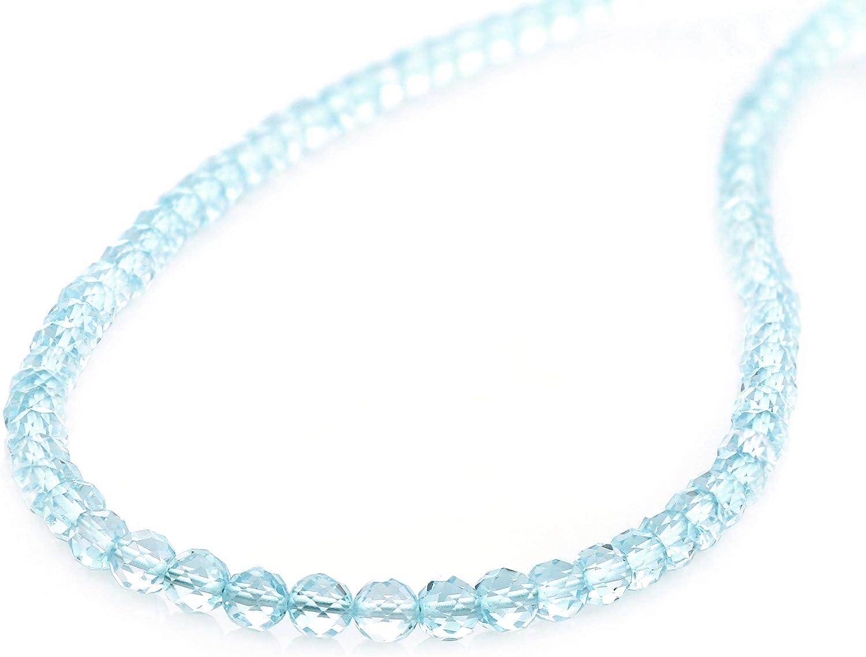 Collar de topacio azul, collar de topacio azul cielo, collar de cuentas de piedras preciosas, collar de cuentas redondas de topacio, regalo de cumpleaños para su calidad AAA topacio azul