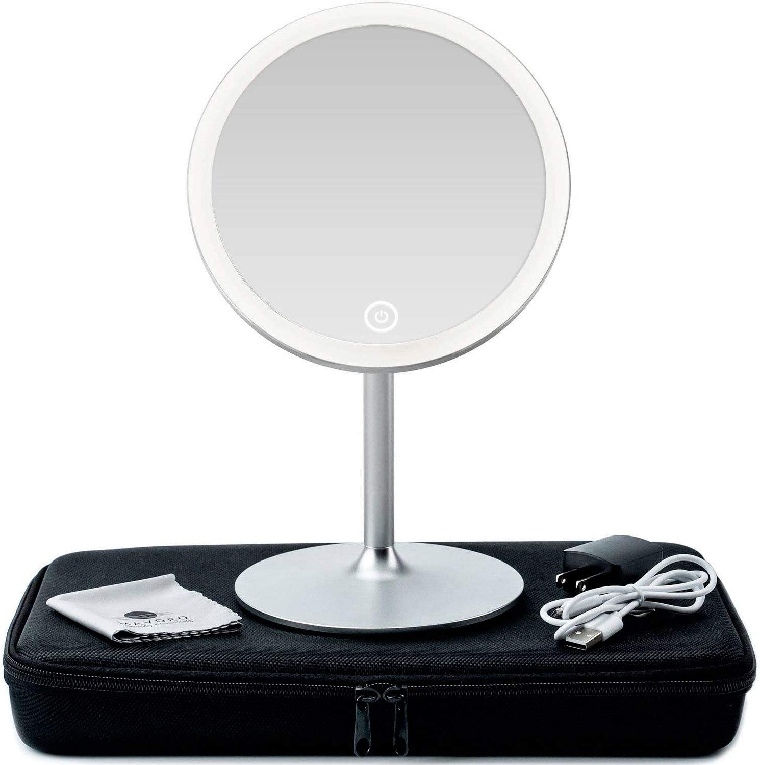 3d Lighted Makeup Mirror With Magnification 5x 360 Degree Swivel Led Make Up Mirror With Continuous Ring Light For Illumination Collapsible Vanity Mirror With Lights Travel Make Up Mirrors