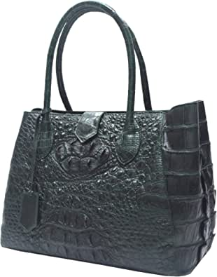 Authentic M Crocodile Skin Womens Hornback Hobo Tote Huge Snap Bag Green Handbag