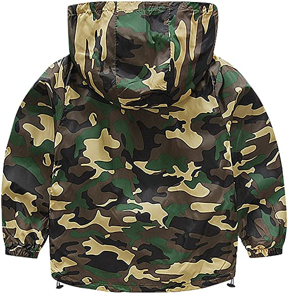 Sweety Kids 4 Color Camo Pattern Zip Up 3 Pocket Hooded Windbreaker Jacket