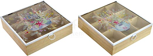 Caja te infusiones madera mdf cristal 9 compartimentos cook with ...