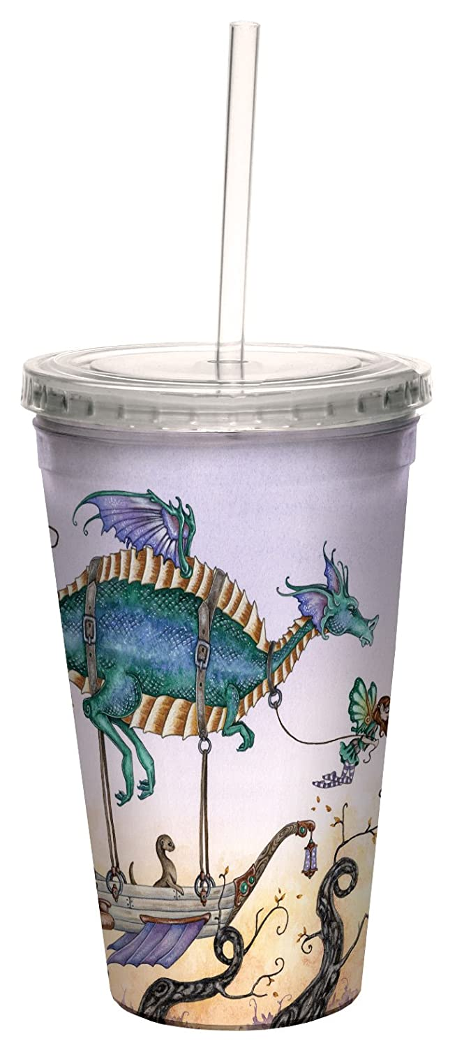 Tree-Free Greetings cc33609 Fantasy The Voyage Dragon and Fairies Artful Traveler Double Walled Cool Cup with Reusable Straw by Amy Brown 16-Ounce