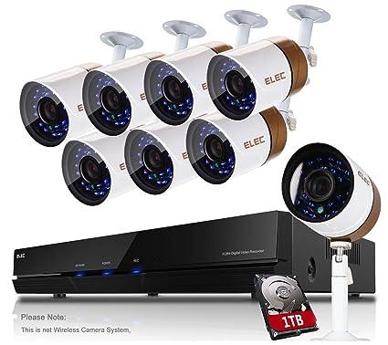 ELEC Kit de Seguridad 8 CH DVR AHD 1080P Lite Grabador, 8X 720P 2000TVL CCTV