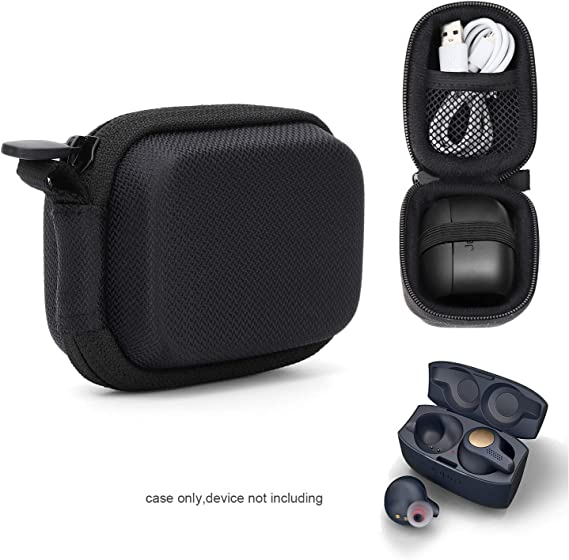 Amazon Com Casesack True Wireless Earbuds Case For Jabra Elite 65t Elite Active 65t Elite Sport True Wireless Earbuds Mesh Pocket For Cable And Elastic Secure Strap Easy To Carabiner Black Home Audio