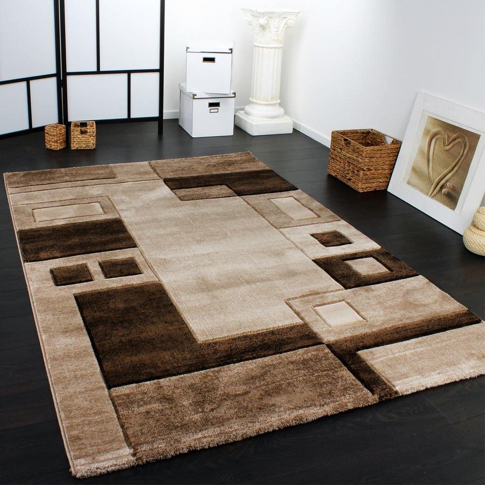 Paco Home Edler Designer Teppich Konturenschnitt Kariert in Braun Beige Meliert, Grösse:200x290 cm
