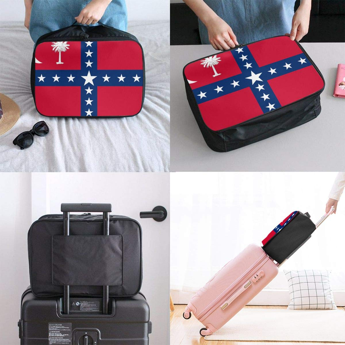 South Carolina Succession Flag Travel Pouch Carry-on Duffle Bag Lightweight Waterproof Portable Luggage Bag Attach To Suitcase