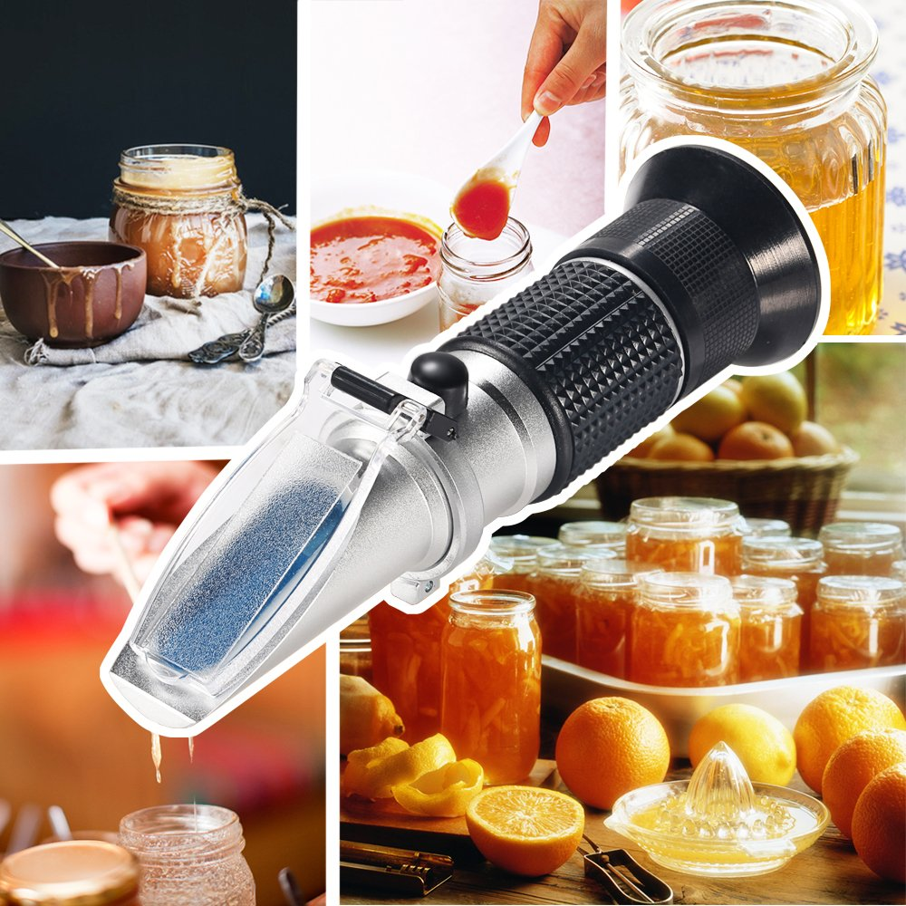 0~90/% Brix Honey Sugar Content Specific Measurement Tool widely Used in Daily Life Fruit Food The Manufacture or Production of Sugar Beverages etc Handheld Brix Refractometer