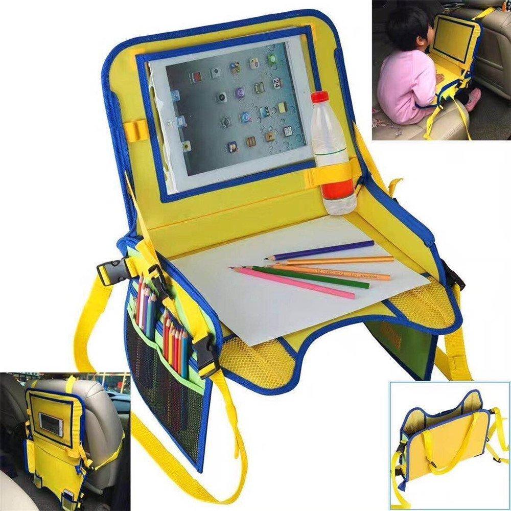 OWIKAR Bandeja de viaje para niños Snack & Play para asiento de coche, bandeja de viaje, multifuncional, organizador de asiento trasero para niños, para guardar ceras, marcadores, un iPad Kindle u otras tabletas, ideal para viajes por carretera y viaj