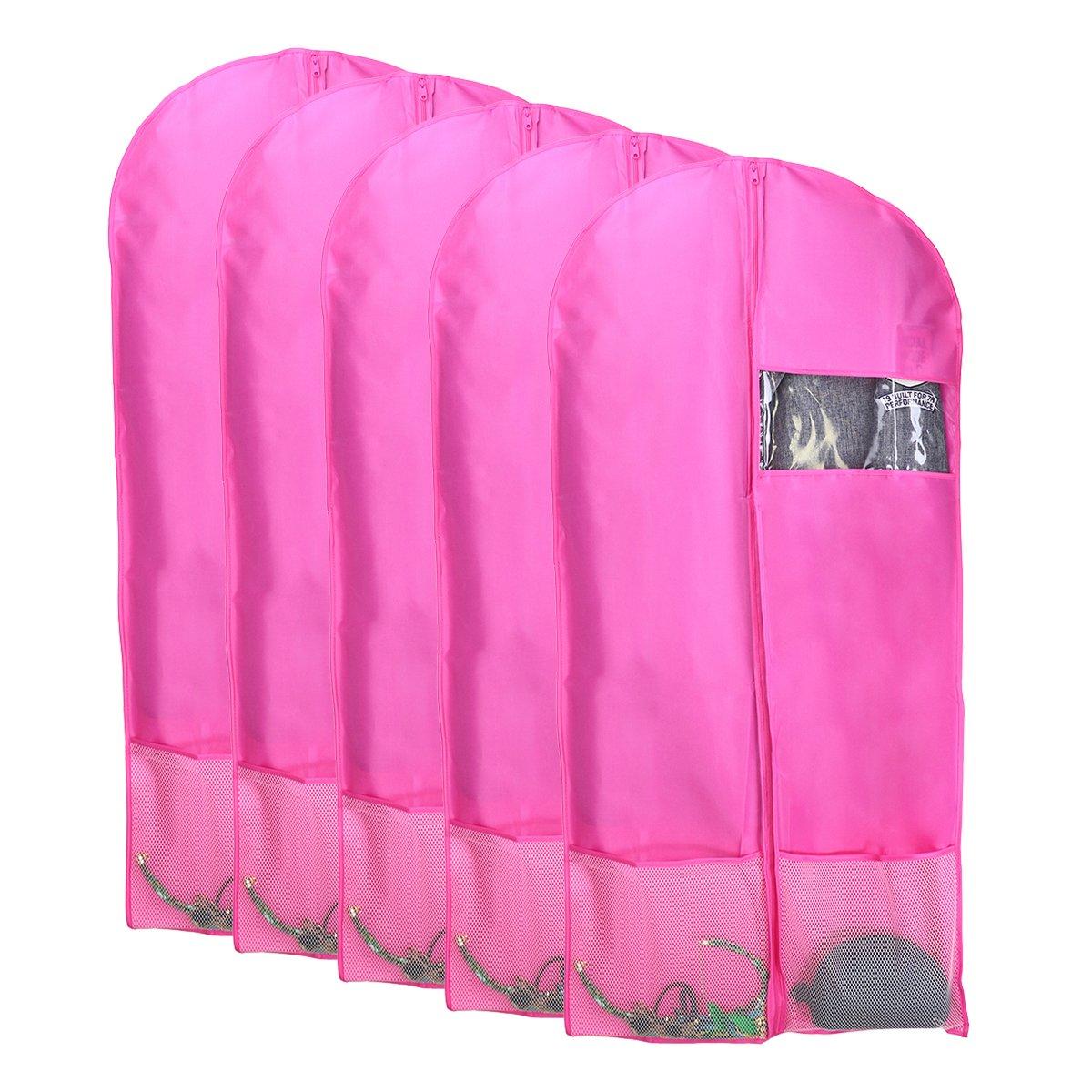 Kernorv Garment Bags for Dance Costumes, Set of 5 Breathable Dust-proof Garment Bags 51'' Dance Garment Bags with Clear Window for Dance Costumes, Dress, Jacket, Storage or Travel (Pink) by Kernorv (Image #1)