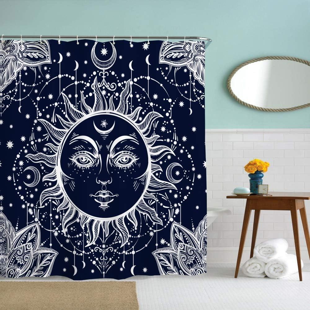 Eleroye 72 x 72 inches Shower Curtain Dark Navy Blue Sun Face Mandala Stars Moon Lotus Water Soap Resistant Machine Washable Fabric Bathroom Decor Set with Hook Bath Curtain