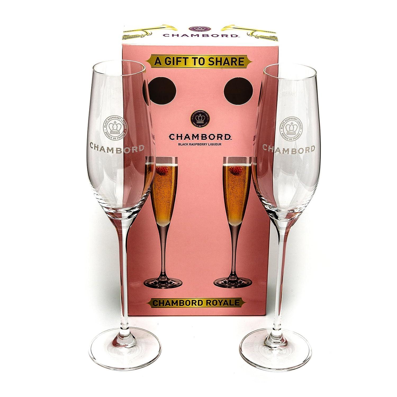 2 Chambord Raspberry Liqueur Champagne Flute Glasses + Presentation Box Unused Home Pub Bar Wedding Gift