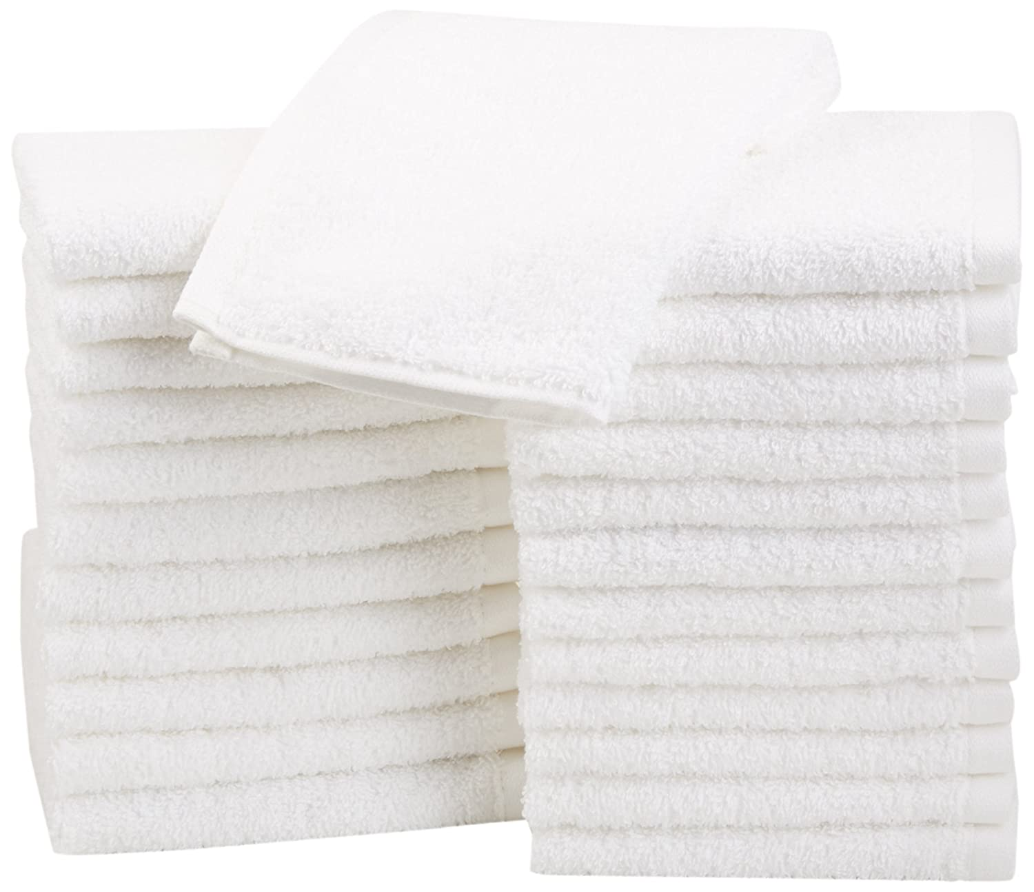 AmazonBasics Cotton Washcloths, 24 - Pack, White
