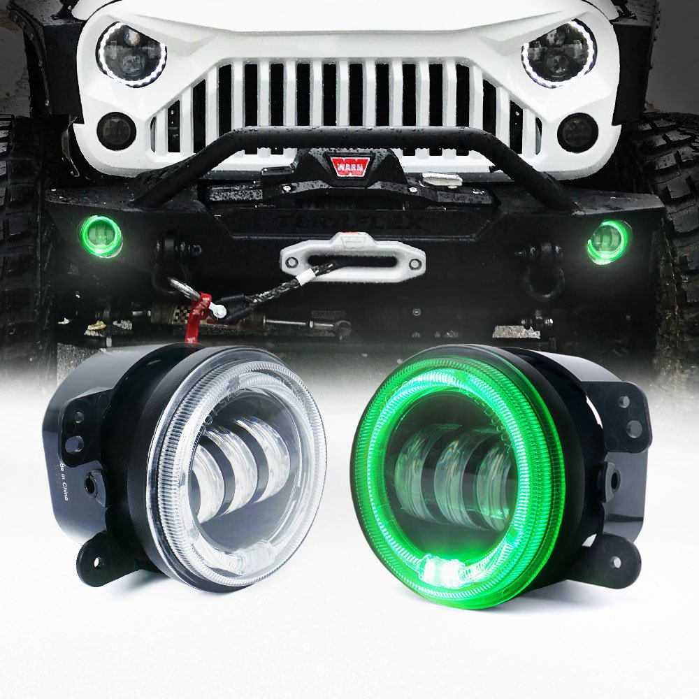 Jeep Wrangler Jk Led Halo Headlights Top Deals Lowest Price Bulb Xprite 4 Inch 60w Cree Fog Lights W Green Ring Drl For