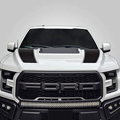 Factory Crafts Hood Racing Stripe Graphics kit 3M Vinyl Decal Wrap Compatible with Ford F-150 Raptor 2020-2020 - Matte Black: Automotive