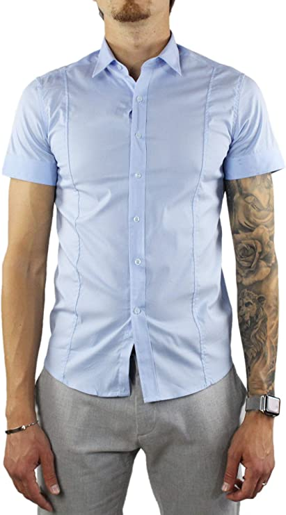 Camisa de hombre de manga corta Slim Fit de algodón elegante blanco azul celeste negro cuello clásico Sartorial: Amazon.es: Ropa y accesorios