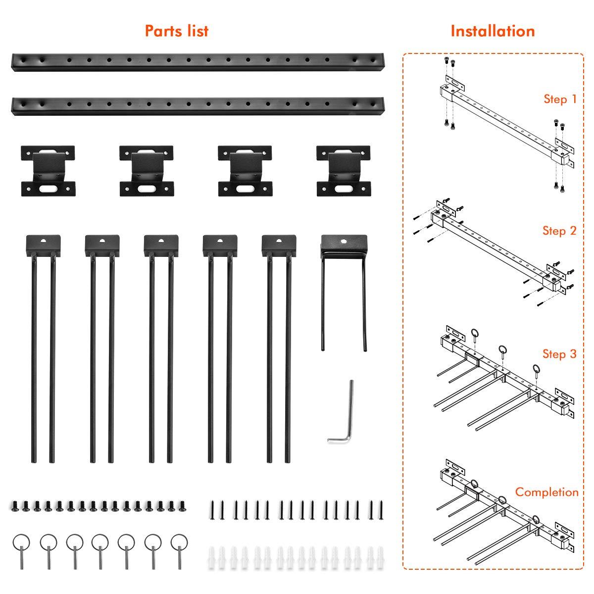 Nero Sistema di Montaggio per Casa e Garage Contiene 10 Paia di Sci ikkle Supporto da Parete per Sci Supporto da Parete per Snowboard da Muro