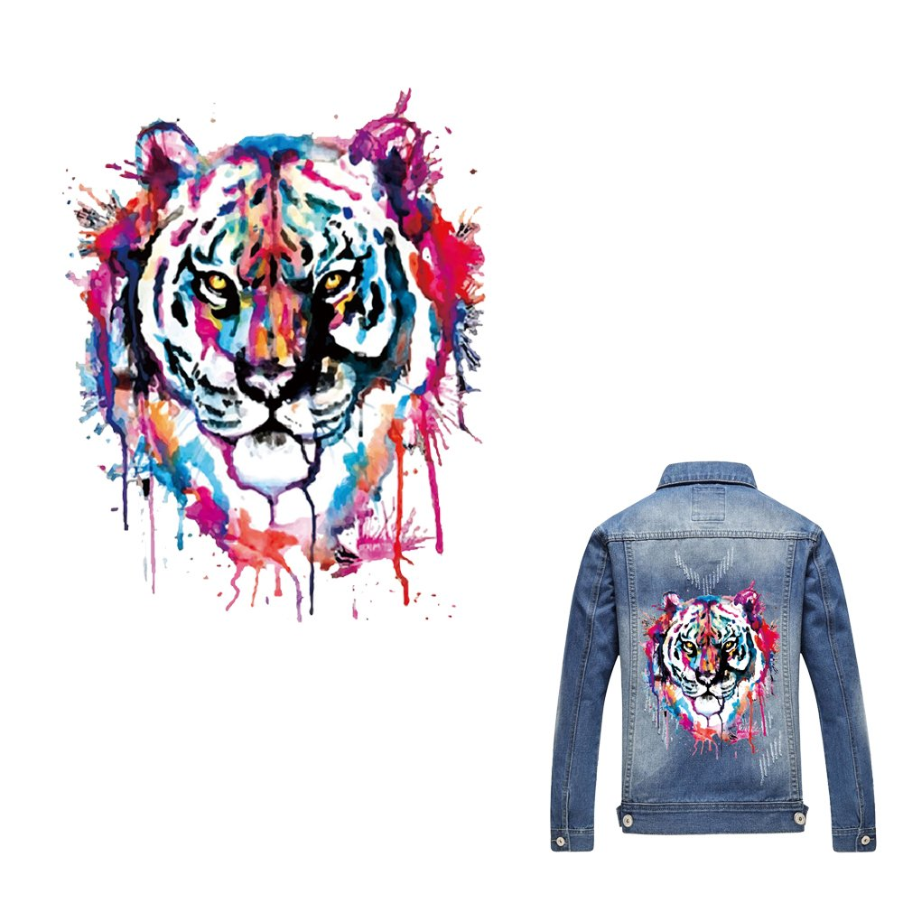 Amazon com artem heat transfer sticker tiger patch iron on appliques a level washable for t shirt dresses decoration diy printing