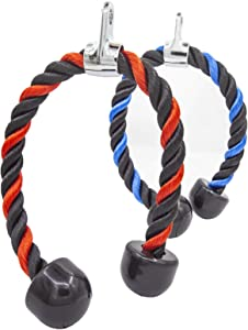 THERHERY 2 Pcs Tricep Rope, Heavy Duty Nylon Triceps Rope Pull Down Easy to Grip & Non Slip Cable Attachment for Muscles Exercise Home Gym Fitness Workout Accessory