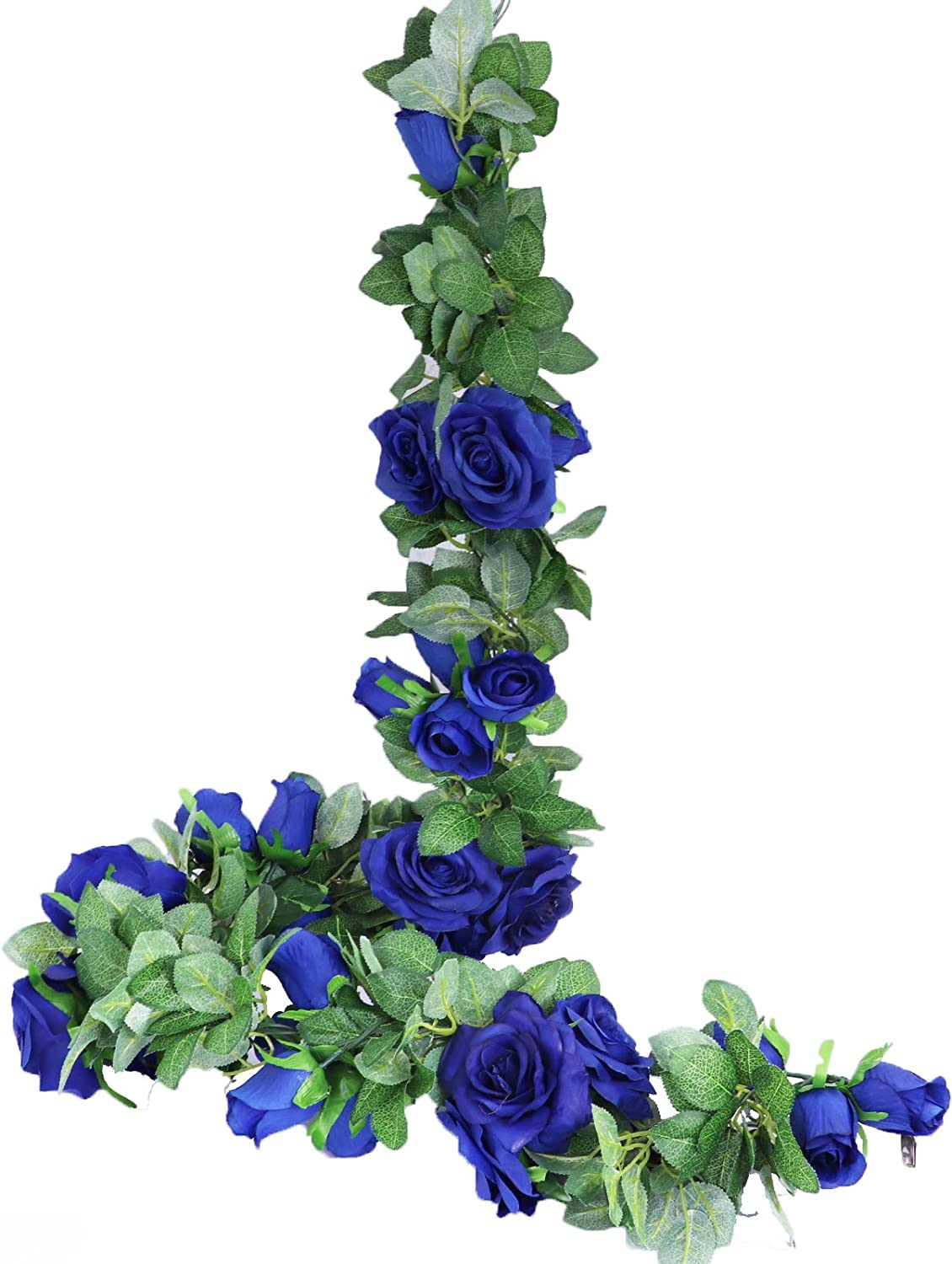 LNHOMY 13 FT Artificial Rose Vine Flowers Fake Rose Garland Flower Silk Hanging Ivy Plants for Home Wedding Party Garden Arch Garden Wall Décor ,2 Pack, (Blue)