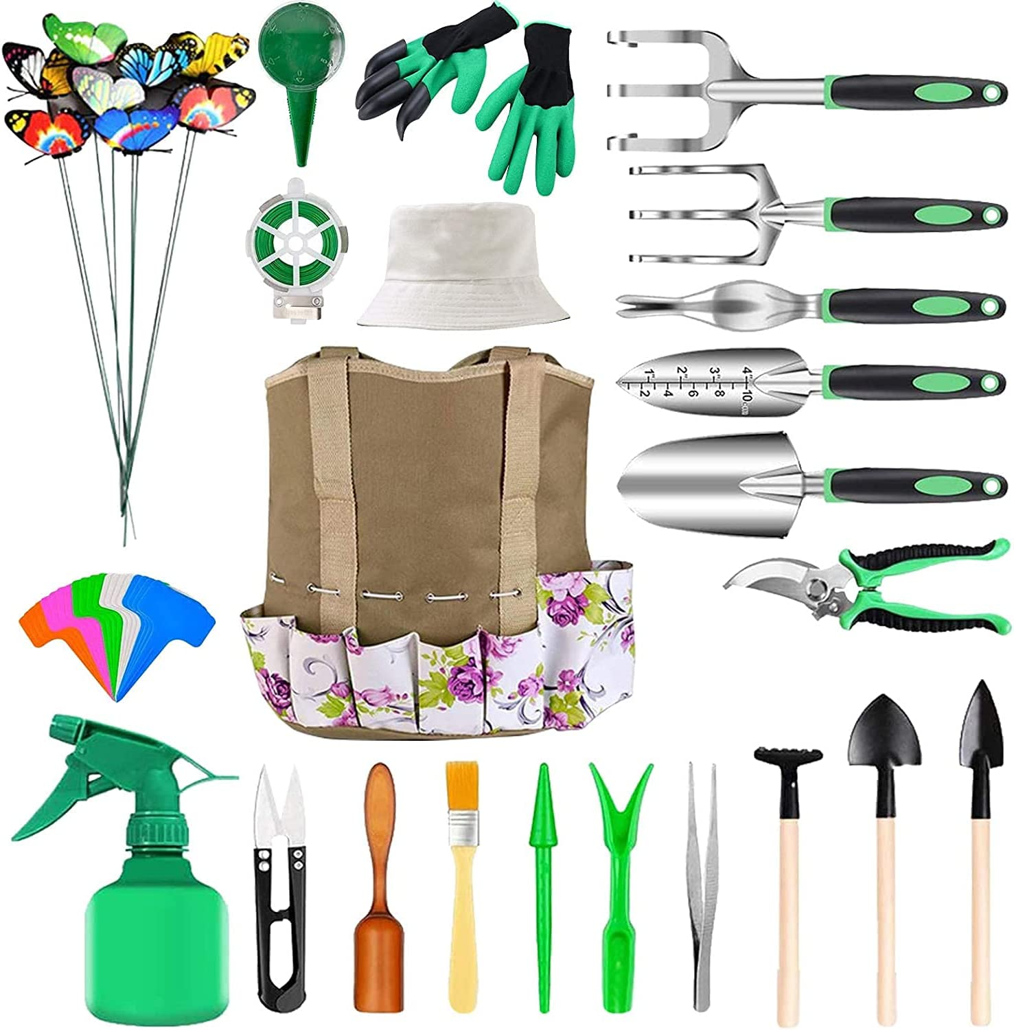 Joyhoop Garden Tools Set, Extra Succulent Tools Set, Heavy Duty Gardening Tools Aluminum with Soft Rubberized Non-Slip Handle Tools, Durable Storage Tote Bag, Gifts Tools for Men Women