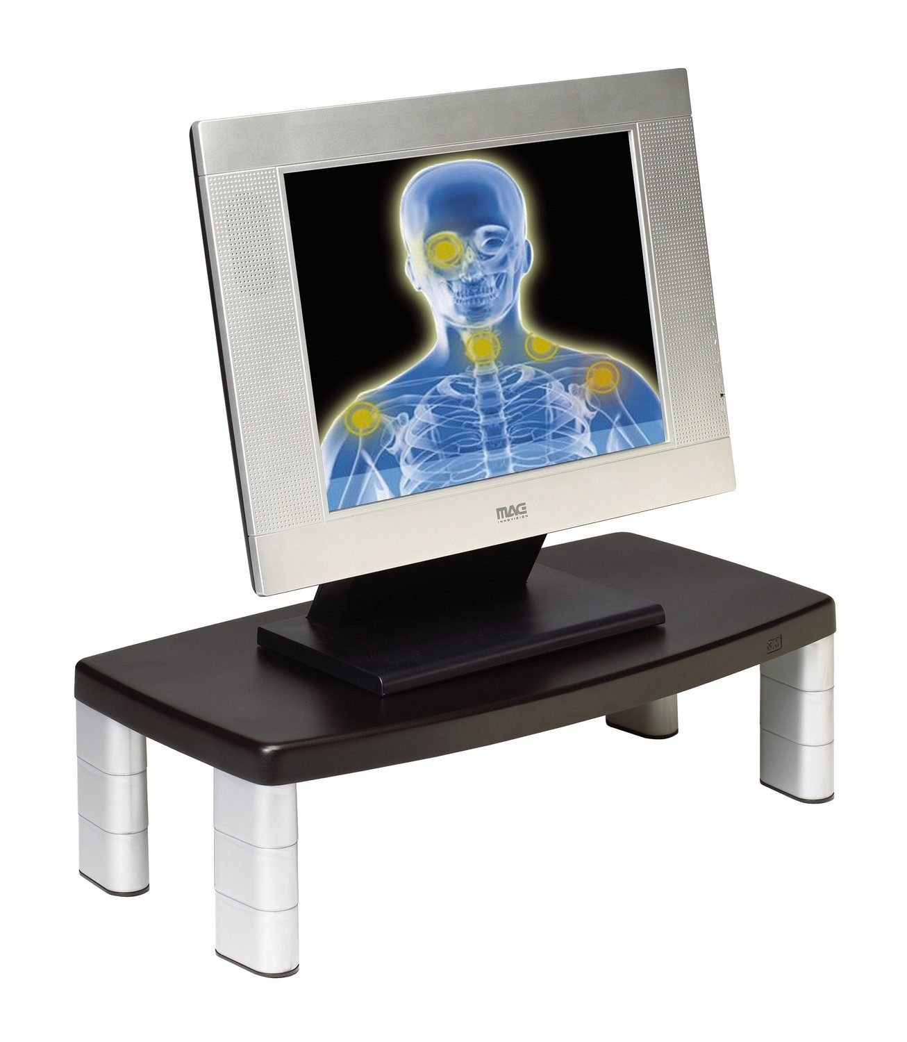 3M Adjustable Monitor Stand, Three Leg Segments Simply Adjust Height From 1 to 5 7/8, Sturdy Platform Holds Up to 80 lbs, 11-inch Space Between Columns for Storage, Silver/Black (MS80B) 3m - Supplies Monitor Accessories