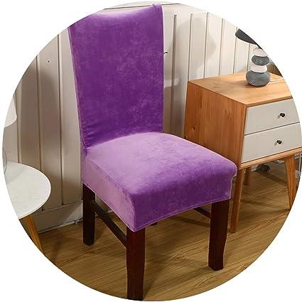 Amazon.com: meiguiyuan Spandex Velvet Dining Chair Cover Dustproof ...