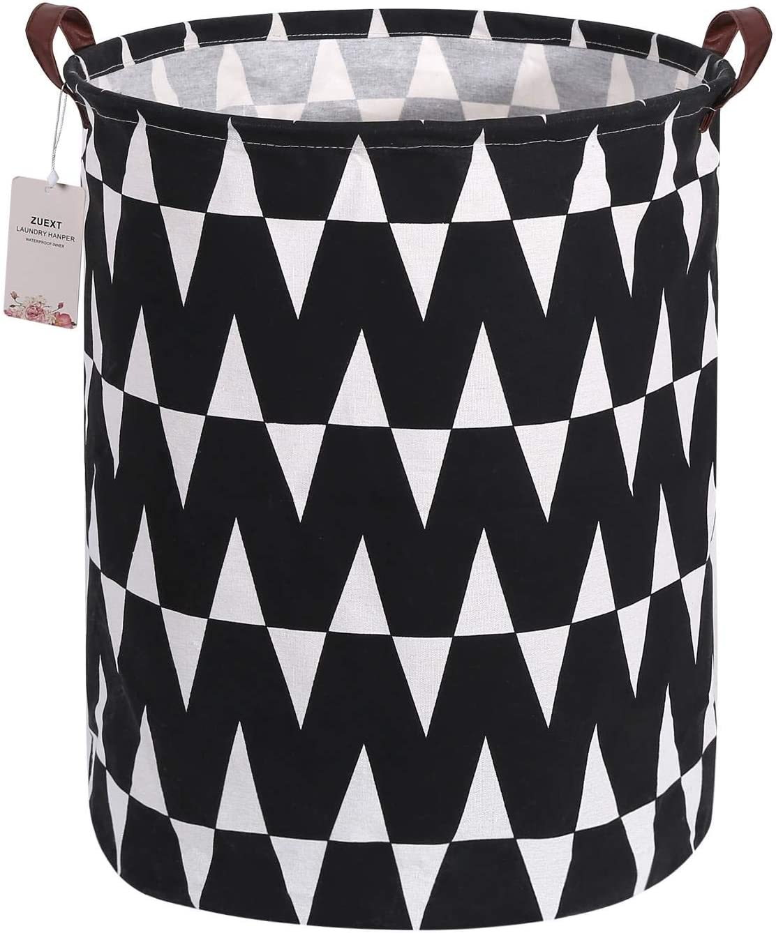 Extra Large Canvas Laundry Hamper Collapsible Storage Bin with Waves Design 19.7x15.7 Inch, ZUEXT Waterproof Cotton Linen Fabric Foldable Organizer Clothes Laundry Baskets for Kids Nursery Bedroom
