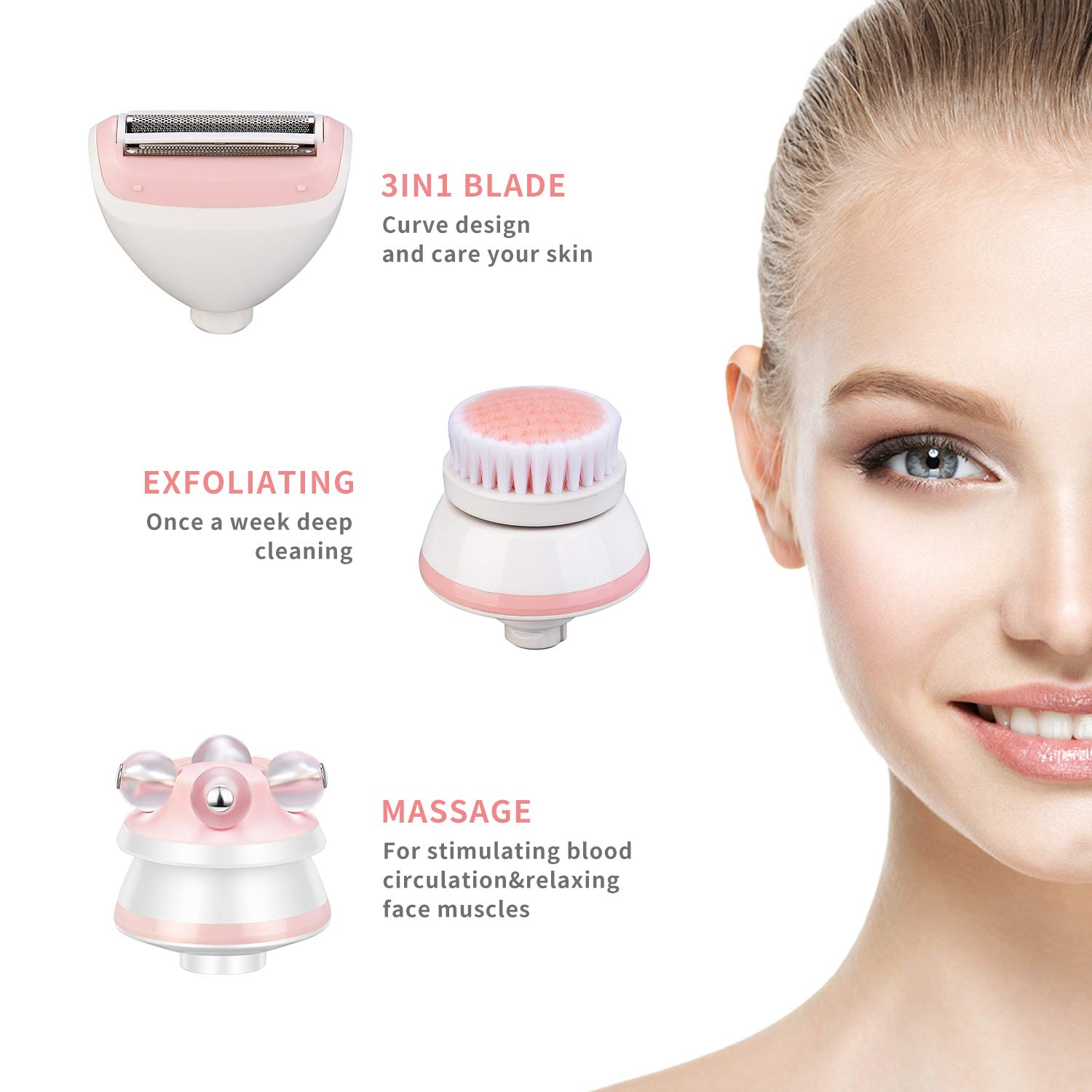Multi-Function Ladies Electric Shaver 3 in 1 Cordless Electric Razor with Facial Cleansing Spin Brush and 3D Roller Massager Rchargeable Waterproof Bikini Trimmer for Ladies Wet and Dry Use