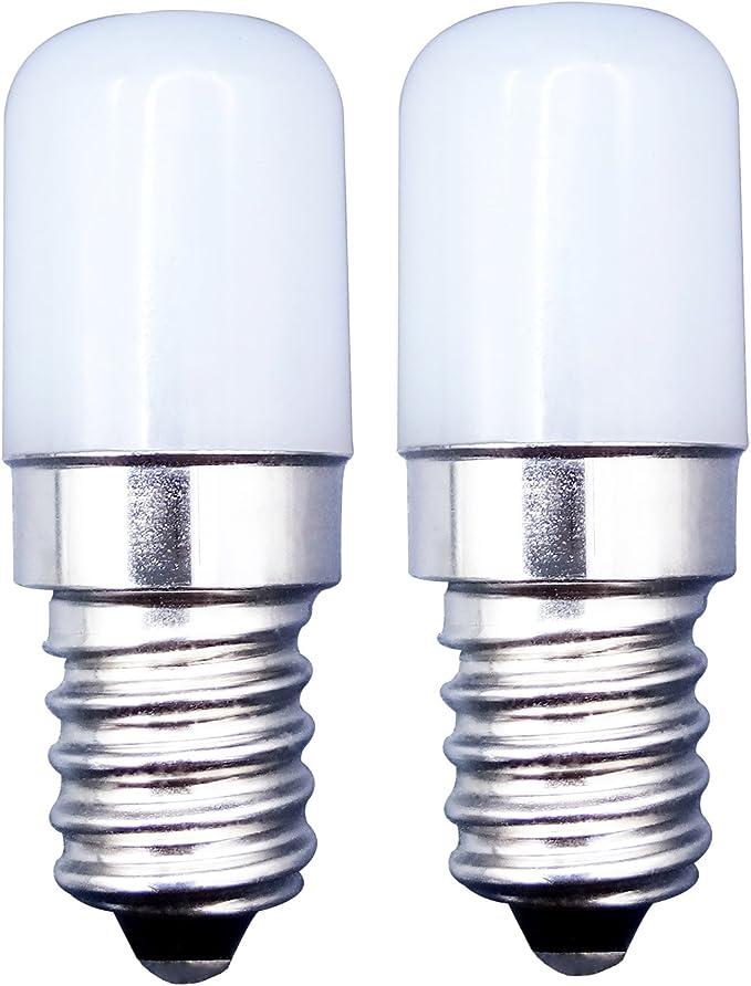 MZMing [Paquete de 2] E14 bombilla LED en lugar de bombilla halógena de 2W 20W de enfriamiento blanco brillante 6000K 180lm - no regulable - refrigerador / máquina de coser a fuego