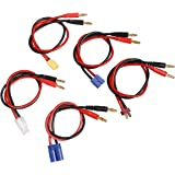 RC Lipo Battery Charger Cable Adapter EC5 / EC3 /Deans T-Plug / XT60 / Tamiya Male Battery Connector to 4.0mm Banana Bullet Plugs for RC Car Helicopter Quadcopter DJI Phantom 14AWG L=300mm