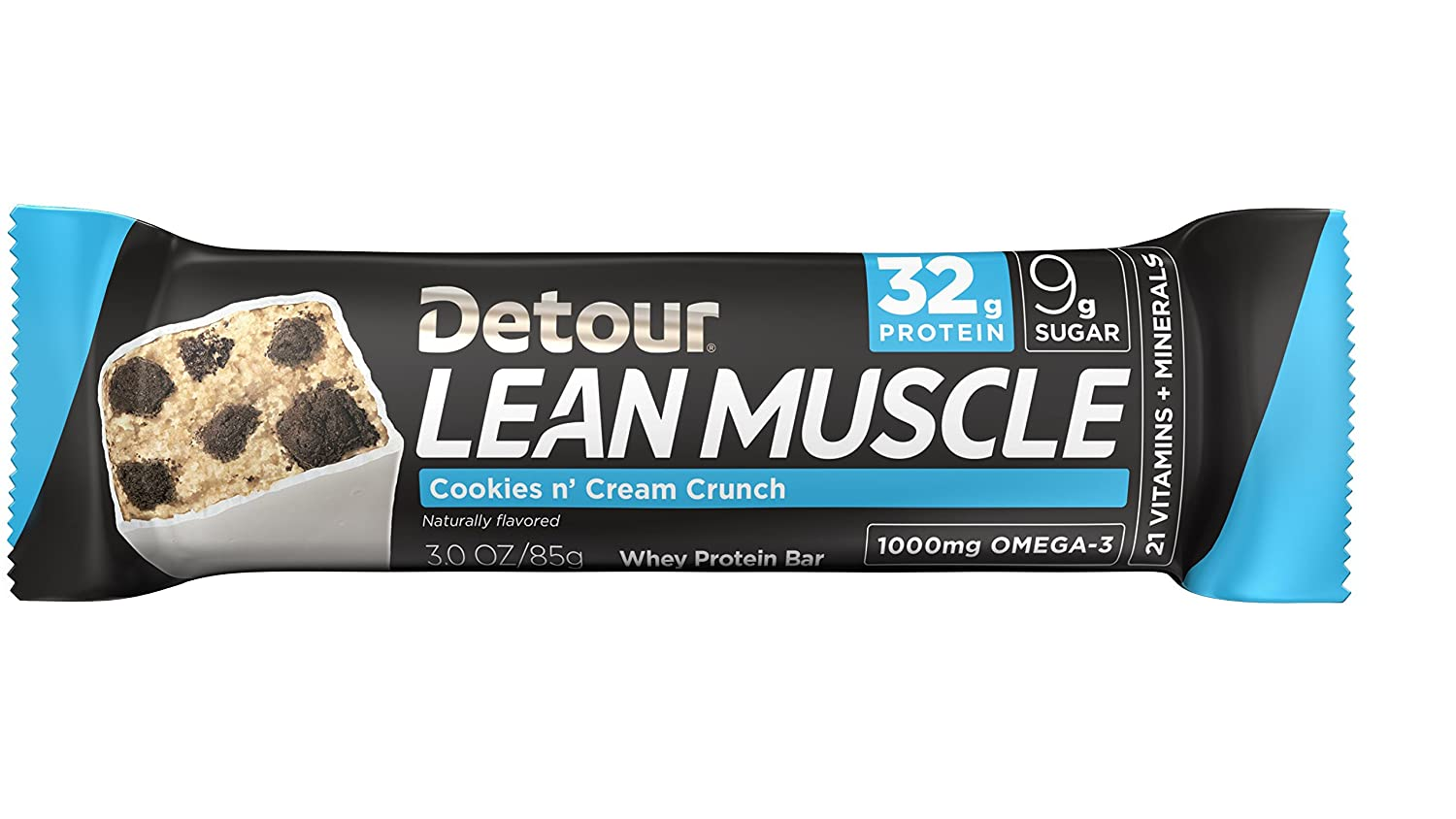 Detour Lean Muscle Cookies'n'Cream 32g protein, Pack of 12